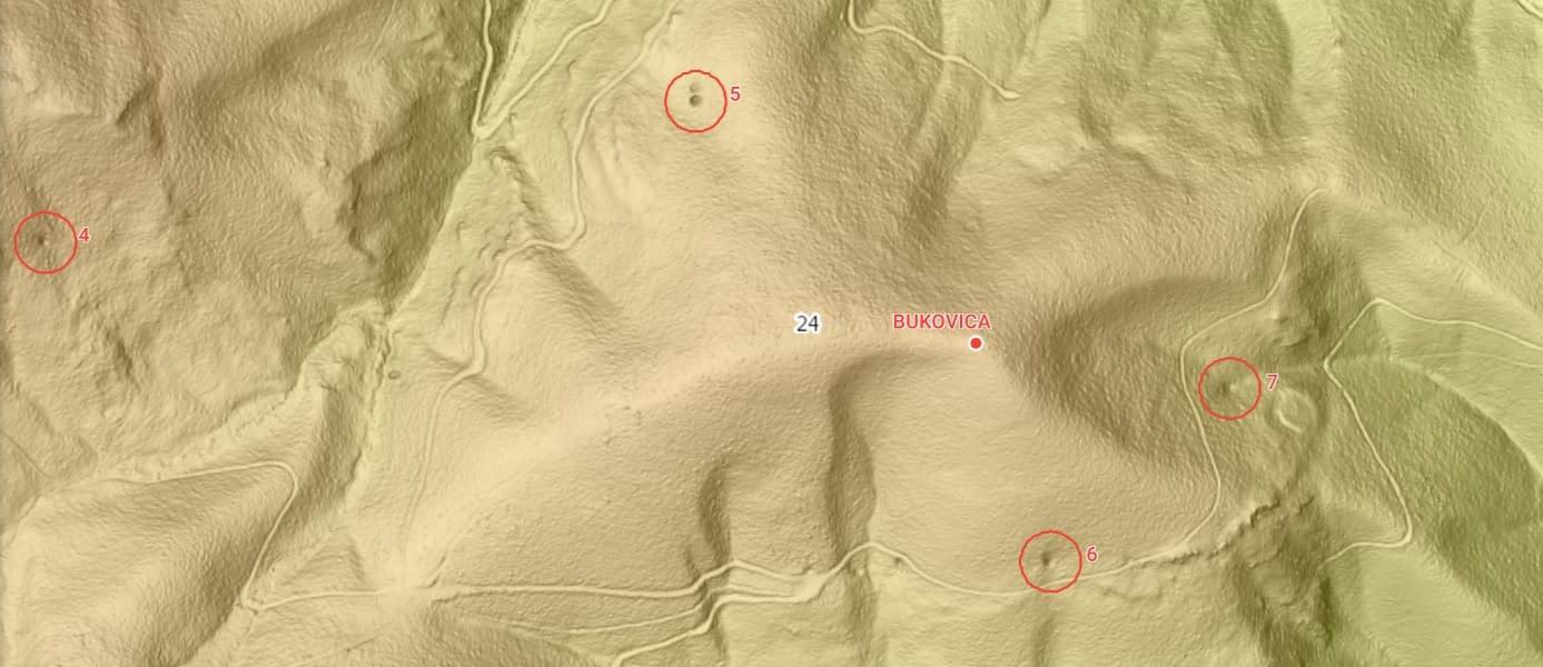 Povrchový prieskum podľa LIDARu v oblati Brtkovice